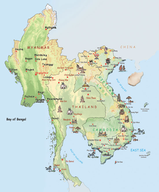 Maps Update 650500 Myanmar Tourist Map Myanmar Top Places to – Travel Map Of Vietnam